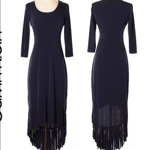 Long Black Dress with Fringe Calvin Klein Size 12